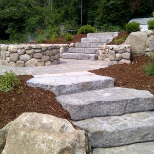 Landscaping with natural stone walking block