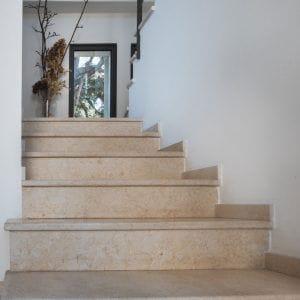 Crema Nova natural stone interior staircases