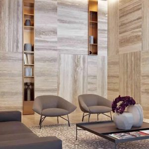 Small living room, wall covering in Travertine Silver Grey