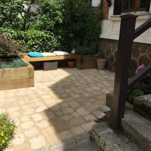 Small courtyard with natural pavers