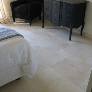 Natural stone is welcome in this room - Crema Nova slabs - Honed finish